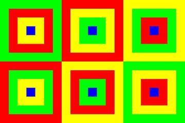 6 permutaties met midden blauw | ID=07 | V=07 | Boxed van Gerhard Haberern