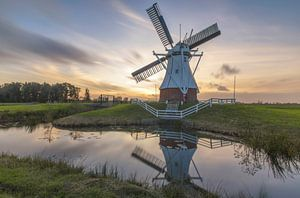 Landscape, sunset white windmill