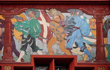 Fresco met ridders op Raadhuis van Bazel in Zwitserland van Joost Adriaanse