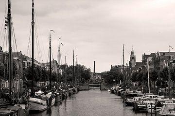 Delfshaven in Zwart Wit van Adriana Zoon