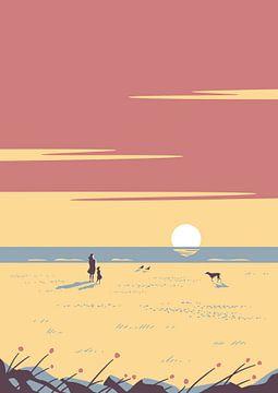 De zonsondergang paars van Rene Hamann