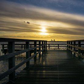 Sonnenaufgang auf der Rotte mit Blick auf Rotterdam Nesselande von Ricardo Bouman
