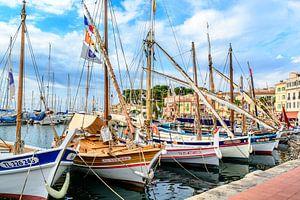 Traditional boats in port of Sanary-sur-Mer , Var, France