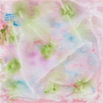 Fantasievolle Aquarell mit Farbklecksen und Streifen in Grün, Lila, Blau, Rot von Heike Rau