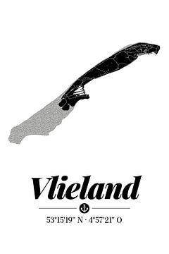 Vlieland | Landkarten-Design | Insel Silhouette | Schwarz-Weiß von ViaMapia