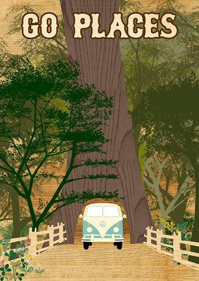 Go Places Redwoods Camper Collage von Green Nest