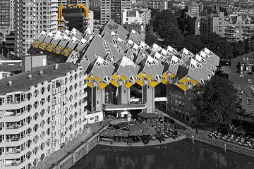 Kubuswoningen Rotterdam zwart / wit van