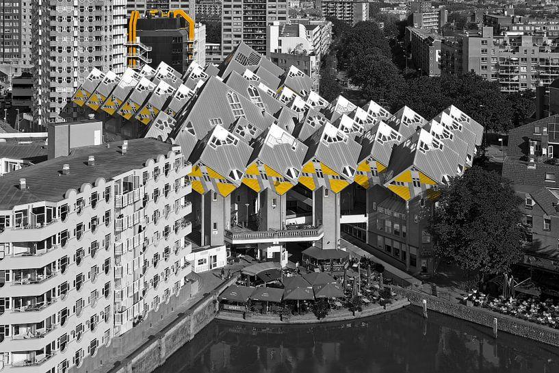 Kubuswoningen Rotterdam zwart / wit van Anton de Zeeuw
