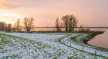 Rivieroever bij zonsondergang van Ruud Morijn