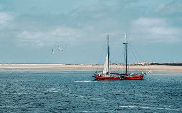Segelschiff auf den Dünen von Terschelling von Rietje Bulthuis