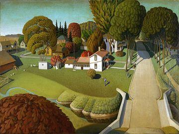 Grant Wood, Geburtsort von Herbert Hoover, Zweigstelle West, Iowa, 1931