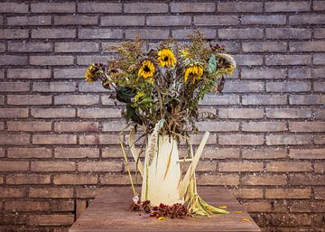 een oude gieter met verdroogde zonnebloemen tegen een buiten muur e once bright now dying sun flower