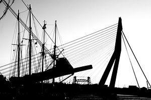 Veerhaven Rotterdam zwart wit van