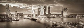 Skyline Rotterdam Erasmusbrug - Warm Brown van Vincent Fennis