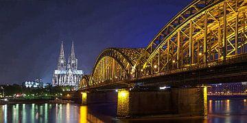 Köln am Rhein bei Nacht von Dirk H. Wendt