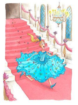 Cinderella - Aquarel illustratie voor kinderen van Mayon Middeljans