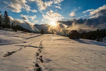 Zonsondergang in besneeuwd Zwitserland van MindScape Photography