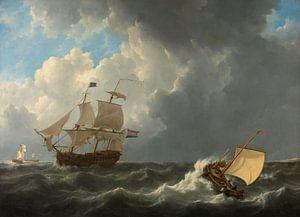 Schepen op een onstuimige zee, Johannes Christiaan Schotel