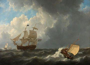 Schiffe auf stürmischer See, Johannes Christiaan Schotel
