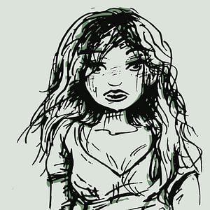 Trauriges Mädchen - Tintenporträt