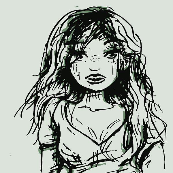 Trauriges Mädchen - Tintenporträt von Wanddecoratie
