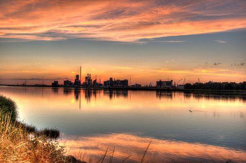 Sundown in Antwerp harbor van