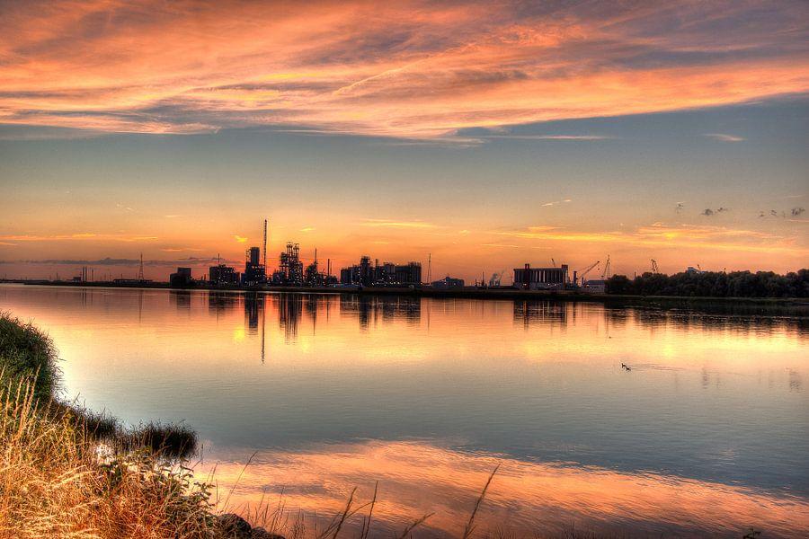Sundown in Antwerp harbor
