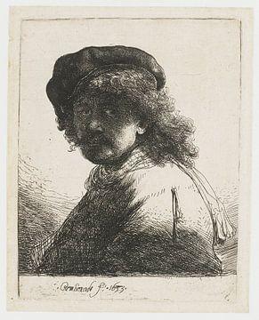 Selbstbildnis mit Mütze und Schal, Rembrandt van Rijn