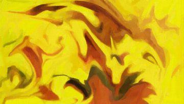 Abstrakt - Schatten in einem gelben Schein von Schildersatelier van der Ven