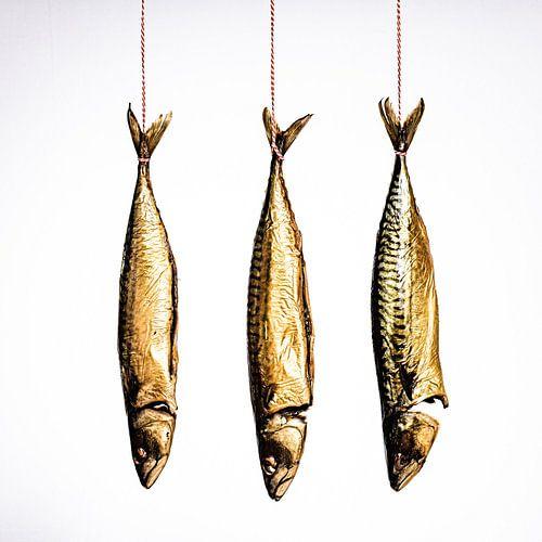 Drie makrelen hangen aan keukentouw