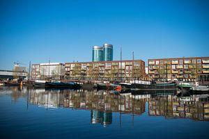 Utrecht, Veilinghaven met de nieuwe wijk Parkhaven, erg mooie reflectie van Patrick Verhoef