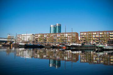 Utrecht, Veilinghaven avec le nouveau quartier Parkhaven, très belle réflexion