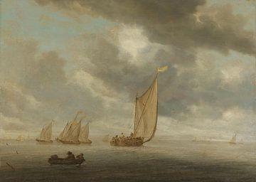 Zeilschepen op breed binnenwater, Salomon van Ruysdael, 1630 - 1670