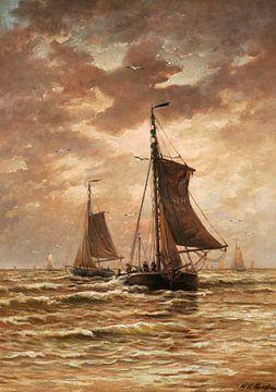 Meeresszene mit Fischerbooten auf ruhiger See, Hendrik Willem Mesdag