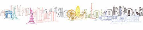 Illustration der Welt bekannten Einkaufsstädten verschmolzen zu einem Bild