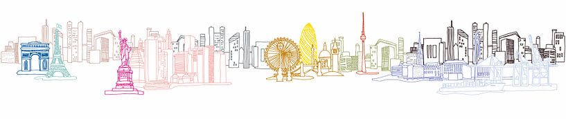 City Art - Illustratie van wereldberoemde winkelsteden samengevoegd in 1 beeld van BeeldigBeeld Food & Lifestyle
