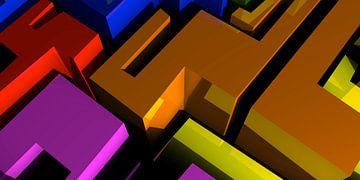 Tha Maze 1 van Pat Bloom - Moderne 3D, abstracte kubistische en futurisme kunst