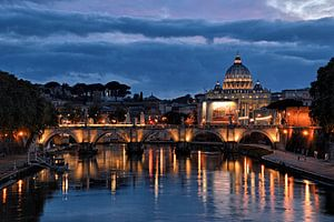 Rome zonsondergang, Vaticaan, Engelenbrug van Jeroen van Rooijen