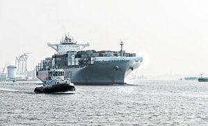 Containerschip op weg van Rotterdam naar Zee