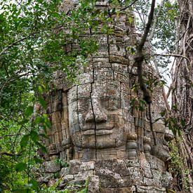 Boeddha beeld in jungle van Richard van der Woude