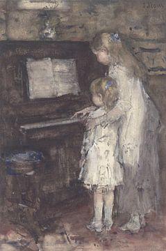 Deux filles au piano, Jacob Maris.