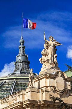 Le Grand Palais avec le drapeau français sur Dennis van de Water