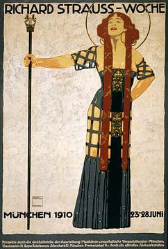 Ludwig Hohlwein, Richard Strauss-week, festival poster, 1910 van Atelier Liesjes