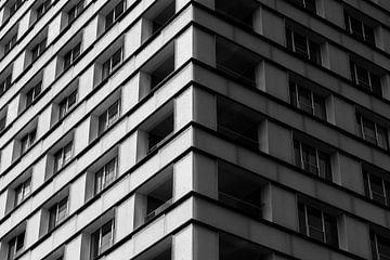 gros plan noir et blanc d'un appartement blanc