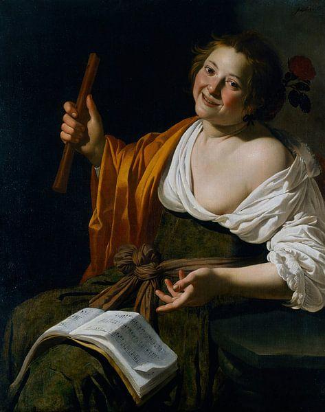 Jan van Bijlert, Jonge vrouw met een fluit - 1630 van Atelier Liesjes