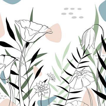 Moderne Bloemen illustratie - Blauw Groen Roze - Tropisch van Studio Hinte