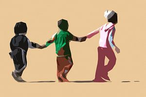 Spelende kinderen in kleur van