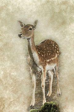 Digitaal kunstwerk van een jong damhert van Art by Jeronimo