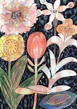 Mixed Flowers with Tulip on Black  van Heidi Capitaine