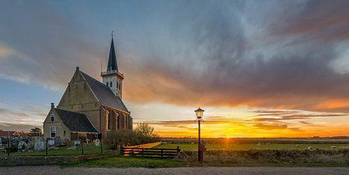 Kerk Den Hoorn Texel Zonsondergang van